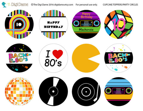 80's party cupcake toppers