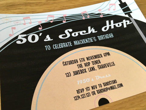printable sock hop party invitation