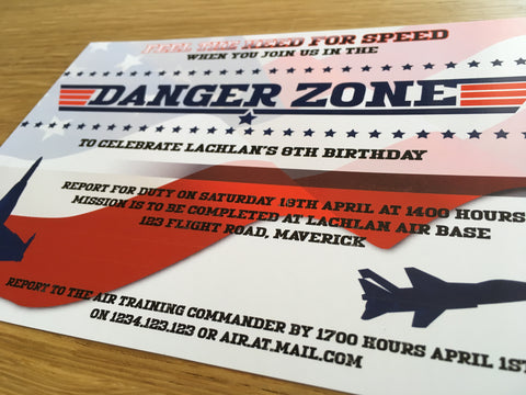 top gun danger zone printable party invitation