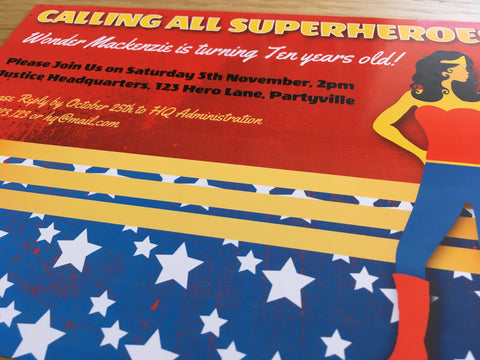 printable wonder woman party invitation