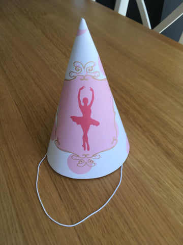 printable ballet party hat girl pink gold