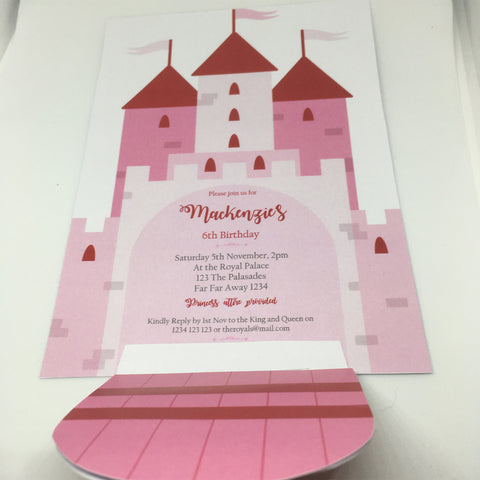 pink princess castle party invitation printable template