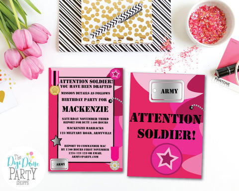 Free Party Printable Army Invitation For Girls Pink