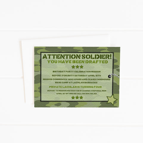 editable printable army party invitation soldier military