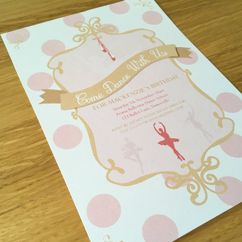 pink gold ballerina party invitation printable