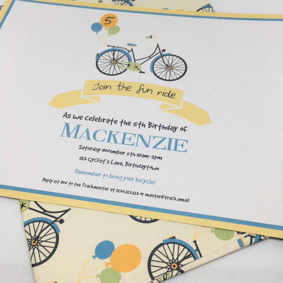 bicycle ride party invitation