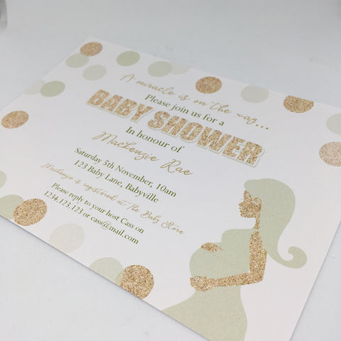 gold glitter baby shower gender neutral unisex party invitation printable
