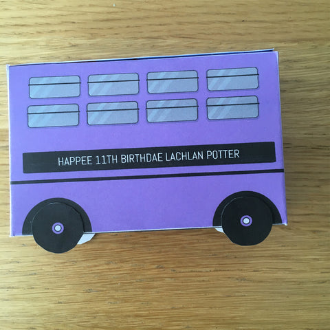 purple wizard bus printable party gift box