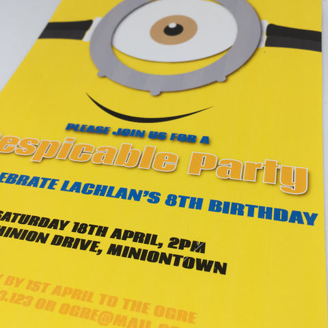 minion party invitation