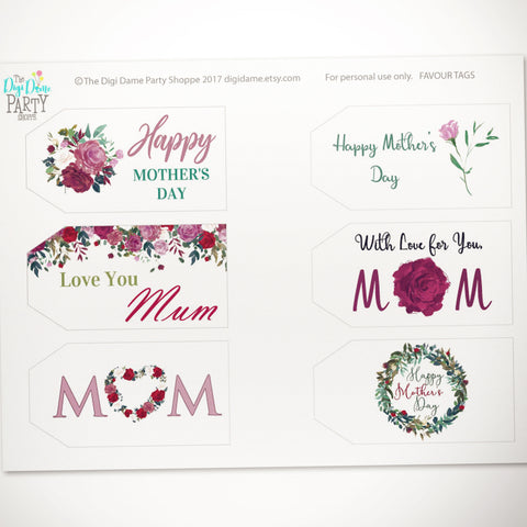 free printable mother's day gift tags download floral mom mum