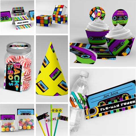 80's party printables decorations editable templates