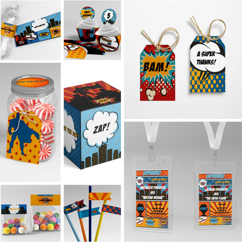 comic superhero party printables decorations