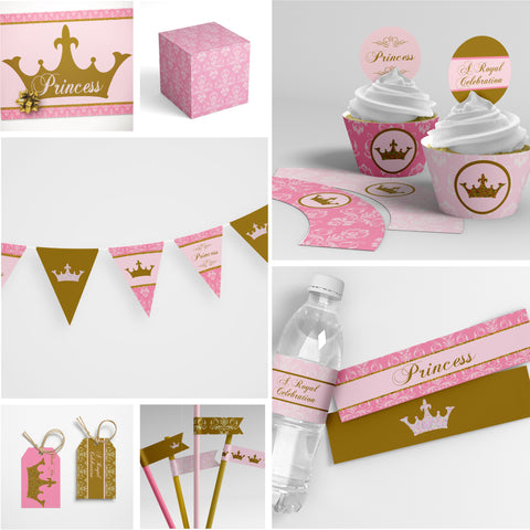 pink gold princess party decorations printable