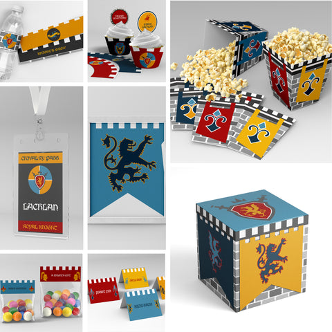 medieval knight party printables pack editable decorations