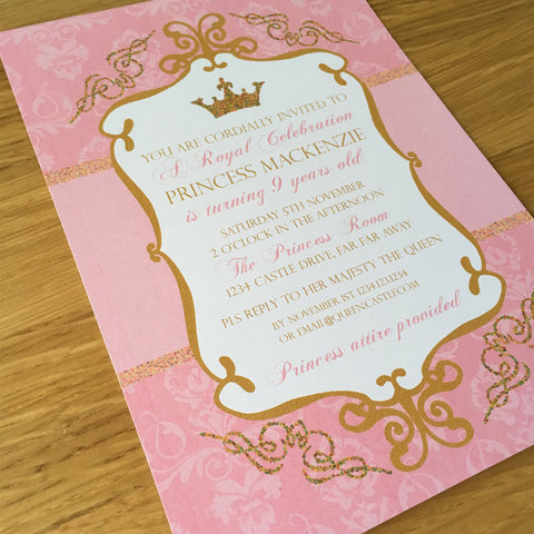 pink gold princess printable party invitation template