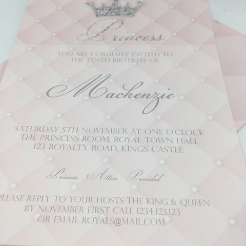 pink silver princess party invitation printable template