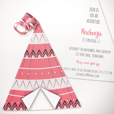 boho tepee party invitation