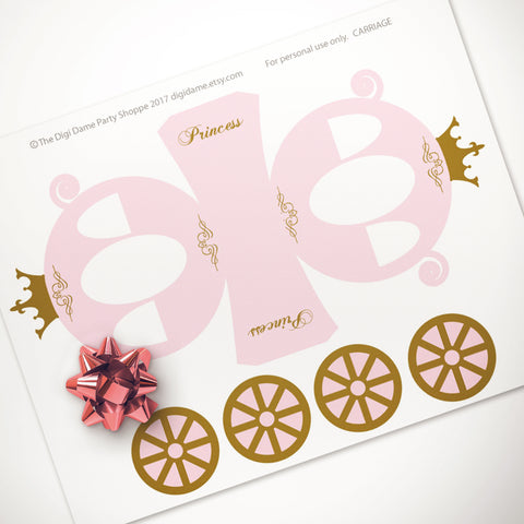 printable princess carriage party table centrepiece