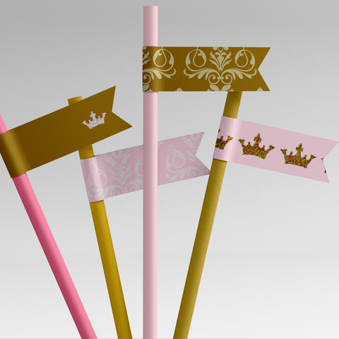 pink gold princess party printable straw flags