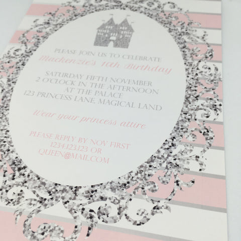 pink silver printable editable party invitation