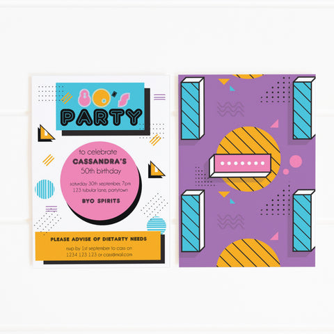 80's memphis party invitation printable template