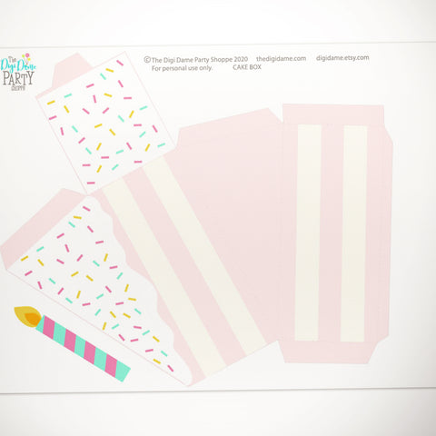 cake party favor box printable free download