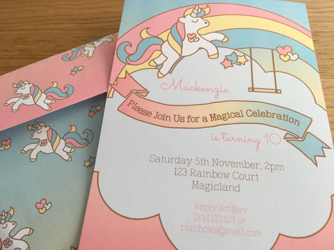 rainbow unicorn printable party invitation