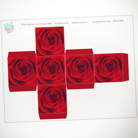 free printable valentine's day red roses gift box