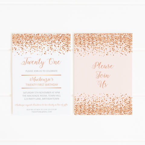 rose gold glitter printable party invitation