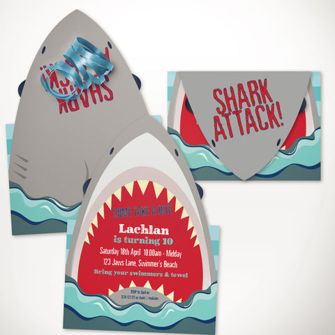 printable shark party invitation editable template