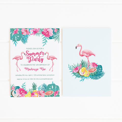 tropical flamingo printable party invitation