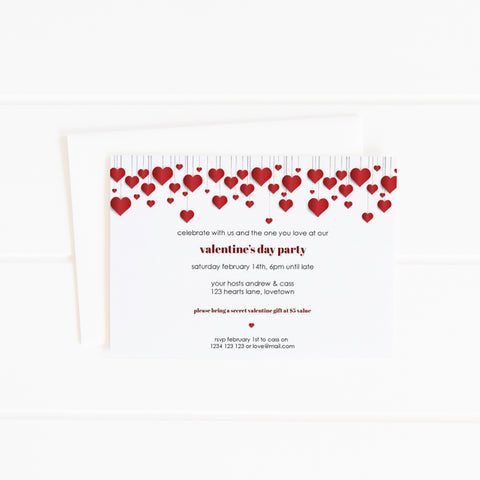 hanging red hearts valentine's day printable party invitation template