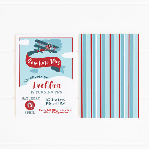 vintage aeroplane printable party invitation