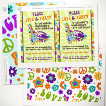 peace love hippie party invitation template