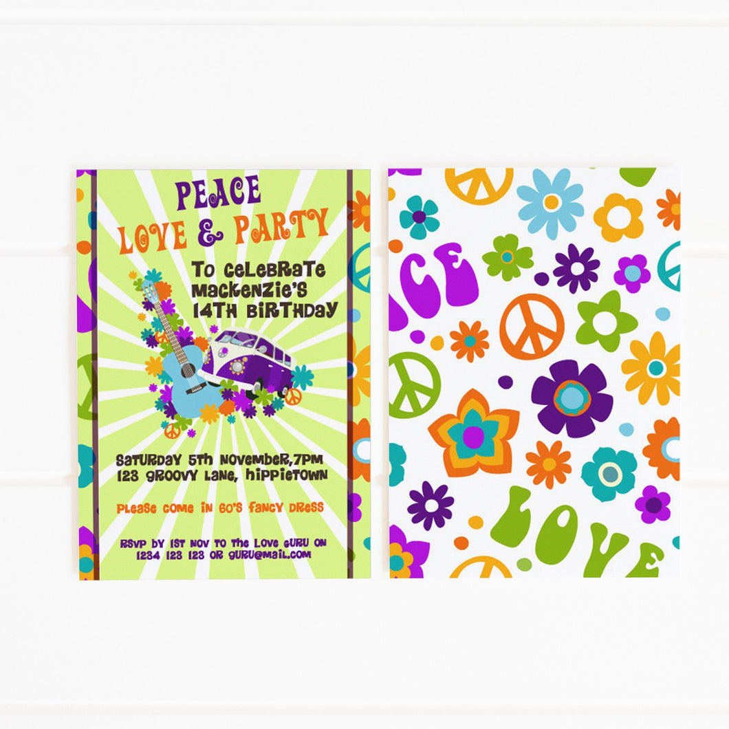1960's hippie party invitation