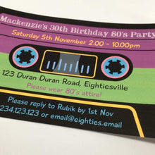 1980's cassette tape party invitation