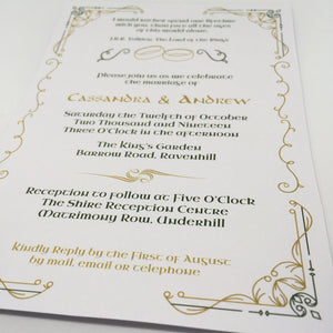 editable printable lord of the rings wedding invitation template