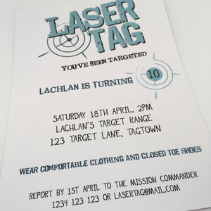 editable printable laser tag party invitation template