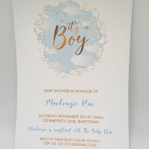 blue baby shower invitation for boy
