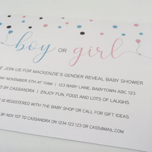 printable gender reveal baby shower invitation