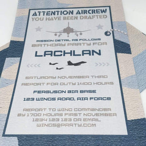 printable air force party invitation