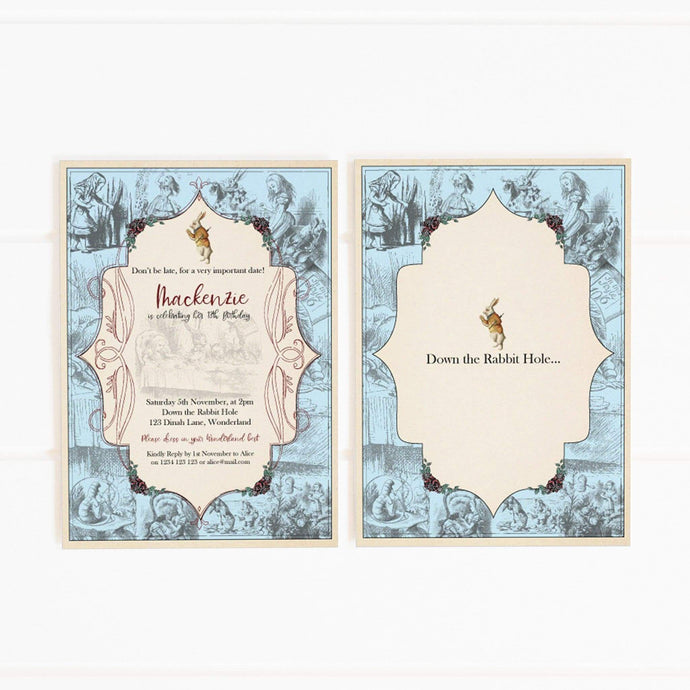 vintage alice in wonderland party invitation