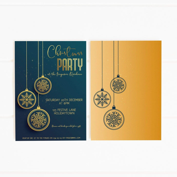 blue gold christmas party invitation