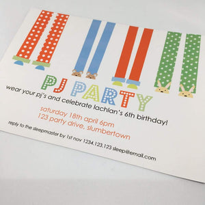 boy's pyjama party invitation