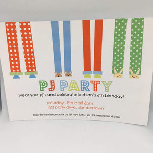 pajama party invitation for boys