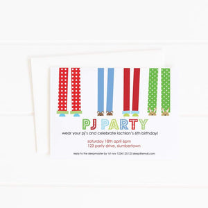 boy pajama party invitation
