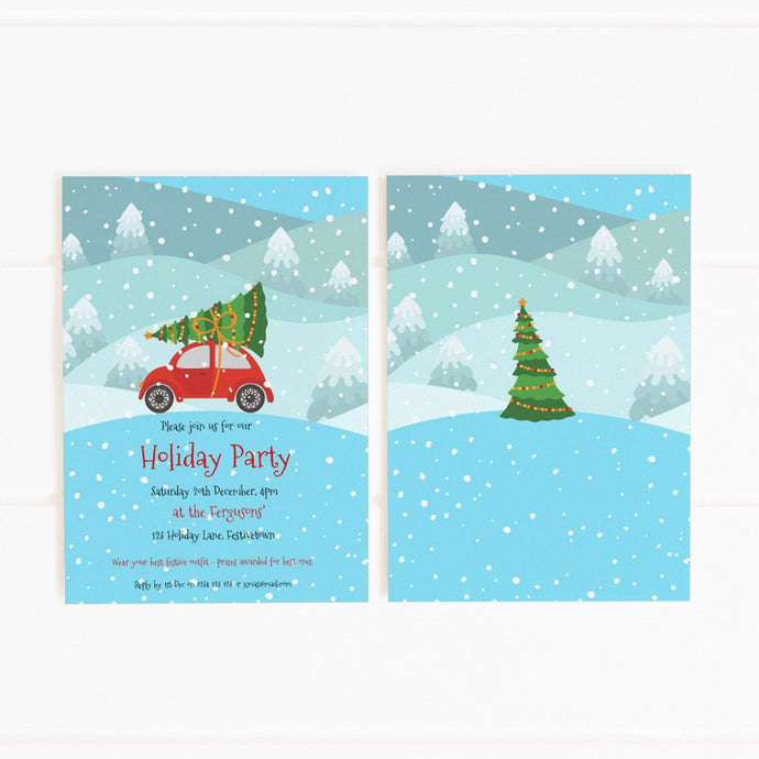 christmas snow car tree party invitation