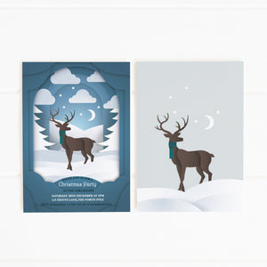 christmas winter deer party invitation