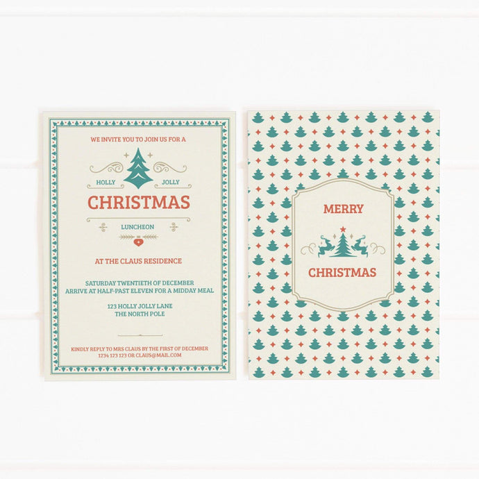 red green christmas trees party invitation