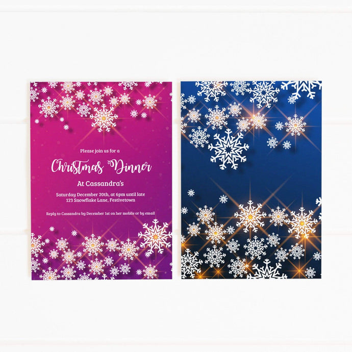 purple blue snowflakes party invitation